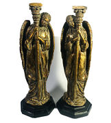 Vtg Angel Candle 13.5 Holder Set Of 2 Weathered Look Gold Heavy 4.75lbs Ea Euc