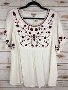 Lucky Brandandnbspwomenand039s Peasant Top White Short Sleeve Embroidered Flowers Size Xl