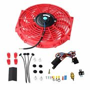 12 Red Electric Cooling Fan 12 Volt Push-in Radiator Fin Probeandthermostat Kits