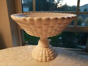 Vintage Pink Milk Old Scalloped Edge Pedestal Compote Fruit Stand So Beautiful
