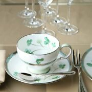 Noritake White Clover Cup And Saucer 250ml / Flower Design Japan Genuine Gift