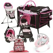 Disney Baby Stroller With Car Seat Travel System Bag Bouncer Playard Girl Combo