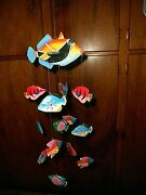 Fish Wind Chime Colorful Painted Paper Mache Home Decor Stunning Free Ship Look