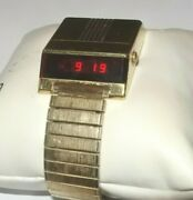 Vintage Bulova Computron Led N6 Drivers Menand039s Watch 1970and039s As Is