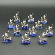 Solid Silver Place Card Or Menu Holders Sailing Boat Italian