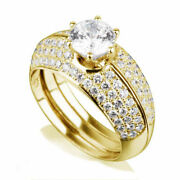 2.25 Ct Round Cut Certified Accents Diamond 18k Yellow Gold Ring Band Set