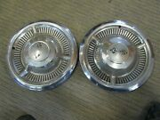 Two 1958 Chevy Impala / Bel Air Crossed Flags Chevrolet 14 Hubcaps