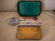 Nintendo New 3ds Xl Gold Hyrule Edition Zelda W/case, Charger And Games