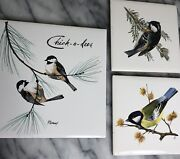 Bird Tiles 3 Hand Painted 1 Signed 2 German Vintage Chick A Dees