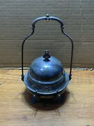 James W. Tufts Silver Plate Butter Dish With Hanging Lid Victorian See Pictures