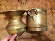Rare 2pc Vintage Copper And Brass Lion Head Pail And Spitoon