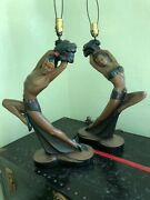 Pair Of Large Vintage Art Deco Chalkware Lamps. Continental Art Co. 1951