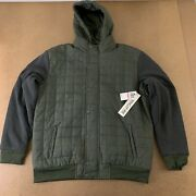 Ring Of Fire Clothing Menand039s Size Xxl Green Nylon Gray Fleece Hooded Jacket Nwt