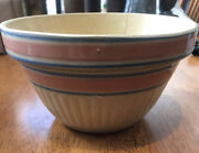 Antique Pottery Mixing Bowl Yellow Ware 7andrdquo. Blue Pink Stripes Stoneware
