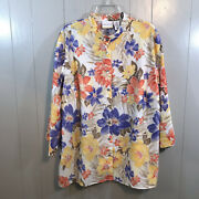 Alfred Dunner Woman White Multi Floral Burnout Button Down Blouse Top Plus 20w