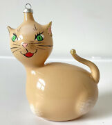 Vintage Italy Cat Mouth Blown Hand Painted Glass Christmas Ornament Kitsch