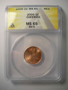 2000 Cheerios Cent Anacs Ms 65 Uncirculated Red Lincoln Penny Millenium Unc