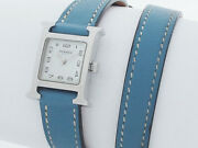 Hermes Hh1.110 Stainless Steel White Dial Blue Band Womenand039s Analog Wristwatch