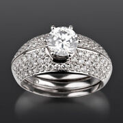 Bands Set Diamond Ring Lady Solitaire And Accents 2.03 Carats 18k White Gold