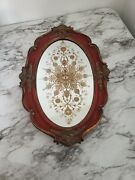 Antique Oval Mirrow Tray Victorian Frame Style Home Decor Vanity Jewerly