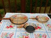 Vintage Corning Pyrex Amber Vision Ware Glass Cookware 3 Pc Set Fry Pans Skillet