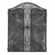 Retro Wrought Iron Fire Screen Fireplace Panels Cut Off The Embers For Wood