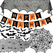 Halloween Props Spider Web Bats Black Lace Curtain Tablecloth Fireplace Mantle