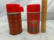 2 Vintage Lunch Box Thermoses, Metal With Glass Liners , Lot39