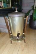 Vintage Mid Century Atomic Tricolator Gold And Wood Tone Coffee Urn Pot Perolater