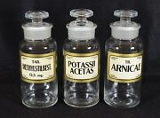 3 Vintage 1936 Wheaton Apothecary Jars With Labels, Pharmaceutical, Medicine