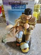 Fireman Protecting Guardian Angel Statue Firefighter Religious Decor New In Box