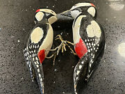 Antique Spotted Woodpeckers Confidence Decoys Victorian Hand Carved And Painted