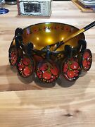 Vintage Russian Khokhloma Black/gold/red Lacquer Wooden Bowl 8 Strawberry
