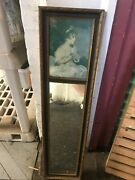 Antique Victorian Trumeau Wall Mirror And Little Girl Picture 27 X 6-1/2 Vgc