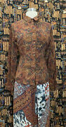 Vintage 70s Retro Silk Brown Paisley Print Buttoned Blouse, Size S, Ships Free