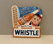 Rare Vintage Whistle Soda Advertising Chalkware Thermometer Sign 1950's