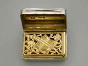 George Iv Silver Vinaigrette Quill Pen And Book Grille William Edwards 1823