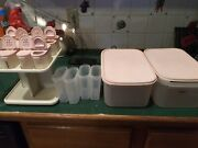Vintage Tupperware Modular Mate Lot W/ Pink Lids Lazy Susan Spice Rack 2 Contain