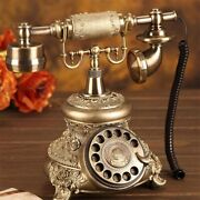 Antique Golden Corded Telephone Retro Vintage Rotary Dial Fixed Telephone Phone