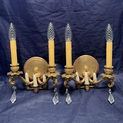 Rare Pair Of Quality Antique Combination Electric/candle Wall Sconces 126a