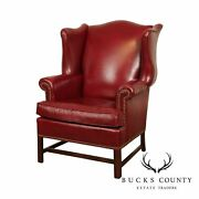 Ethan Allen Chippendale Style Red Leather Wing Chair