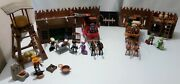 Lot Playmobil Relais 2 Diligence Western- Mobilier- Chevaux- Sherif- Telegraphie