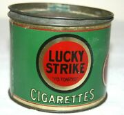 Vintage Lucky Strike Cigarettes Tin Held 100 Cigarettes Round 4x3 1/4 Empty