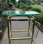 Mid Century Solid Brass Side/end Accent Table Magazine Rack W/ Beveled Glass