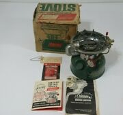 Vintage Coleman 502 Single Burner Camp Stove Dated 8-71 With Original Box Clean