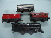 Marx Wind Up Steam Engine And 3 Tin Trains Runs With Track Extra Engine Included
