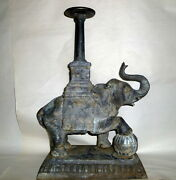 Antique Victorian 17 Tall 20lb Metal Elephant Plant Stand Garden Candle Holder