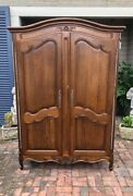 Antique French Country Armoire Two Door Scalloped Apron Carved Shell Tiger Oak