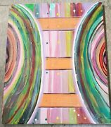 Original Abstract Acrylic Hand Paint🖼 Art Colorssigned Yvette V Wall Deco