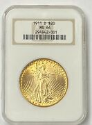 1911-d 20 Saint Gaudens Gold Double Eagle Pre-1933 Ngc Ms64 Old Fatty Holder